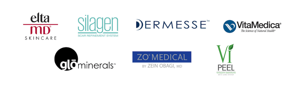 Logos of skincare lines carried at Diaz Plastic Surgery